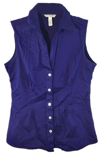 Item - Blue Button Down Sleeveless Tunic Size 4 (S)