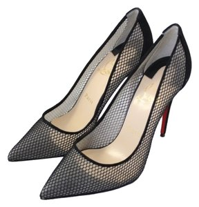 Christian Louboutin Leather Mesh Stiletto Black Pumps