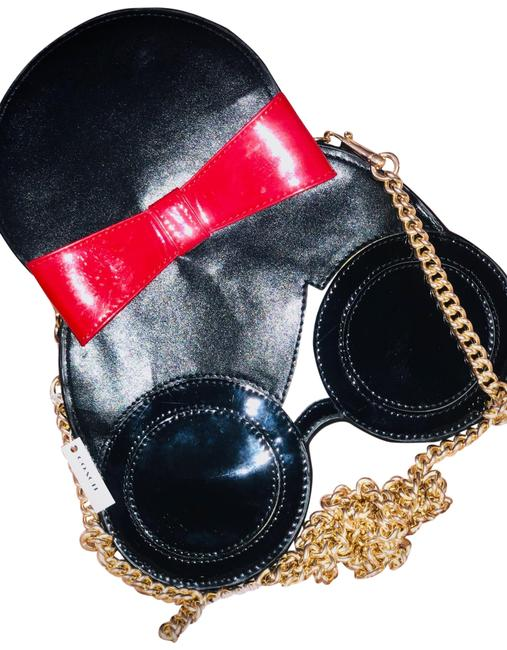 Item - Face Black and Red Leather Cross Body Bag