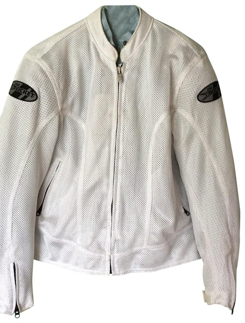 Item - White and Blue Women's Biker Jacket Size 12 (L)