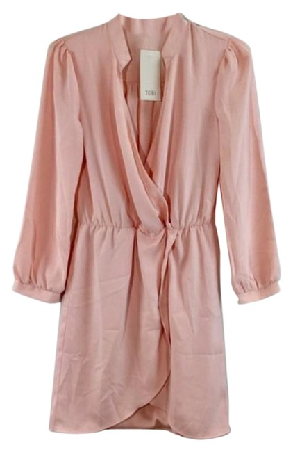 Item - Pink V Neck Gathered Waist Sleeves Long Casual Maxi Dress Size 4 (S)