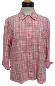 Christopher & Banks Plaid Button Down Button Down Shirt Pink