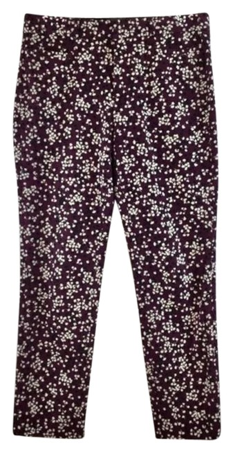 Item - Purpel White Floral Print Zipper Pants Slack Romper/Jumpsuit