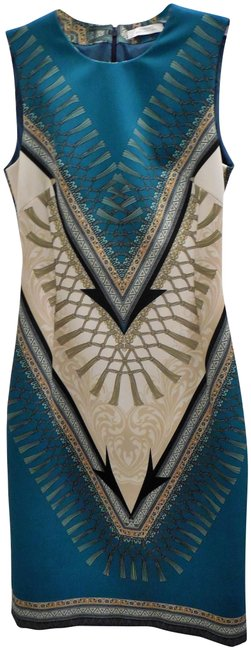 Item - Teal Multi Color Iconic Mid-length Night Out Dress Size 8 (M)