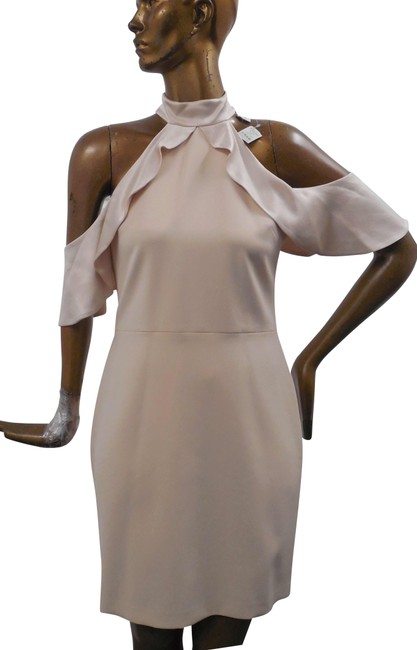 Item - Champagne Beige High Neck Mid-length Night Out Dress Size 6 (S)