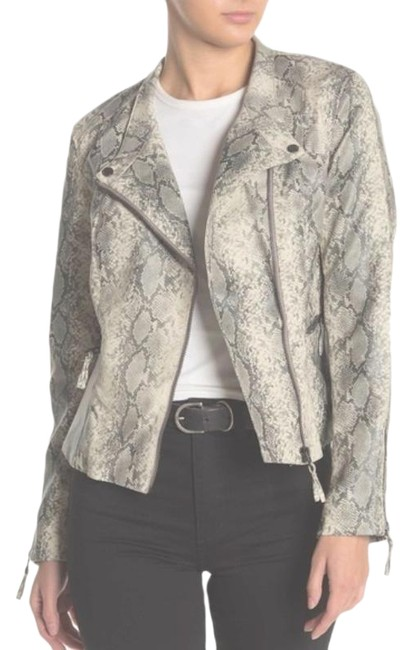 Item - Off White Grey Snakeskin Faux-leather Vegan Moto Jacket Size 4 (S)