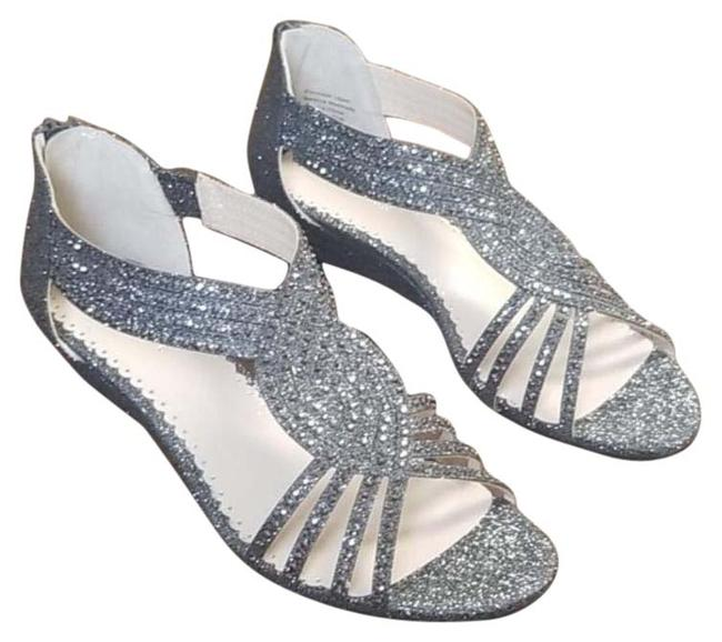 Item - Silver Ginifur Wedge Sandals Size US 7 Regular (M, B)
