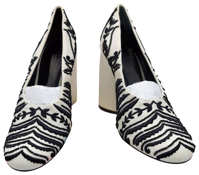Item - Black White Lucia Two-tone Embroidery Beading Embellished Heel Pumps Size US 9.5 Regular (M, B)