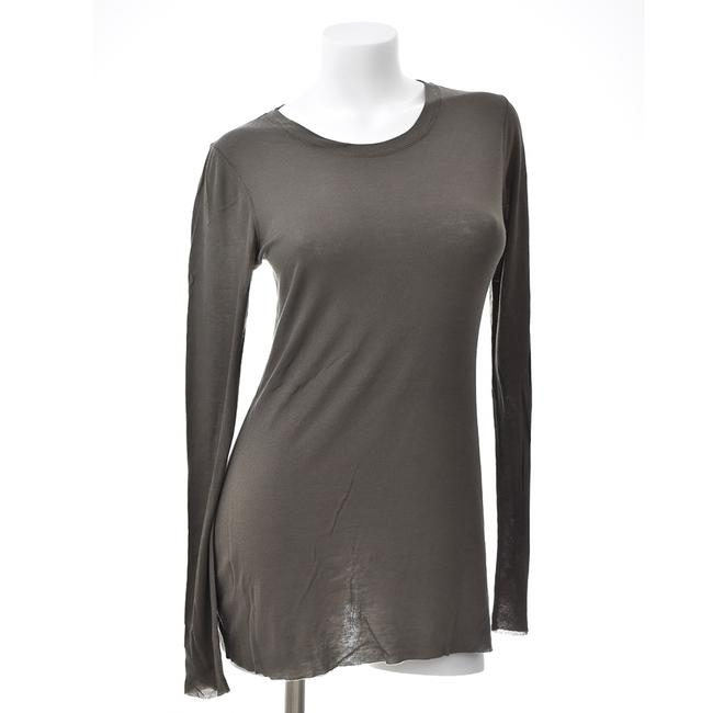 Item - Olive L Ultra Stretch Fitted Ribbed Long Sleeve Shirt Tunic Size 12 (L)