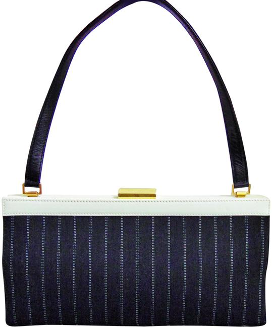 Item - Italy Navy White Pinstripe Canvas Blue Leather Shoulder Bag