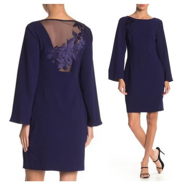 Item - Purple Engaging Bell Sleeve Open Back Feminine Bridesmaid/Mob Dress Size 0 (XS)
