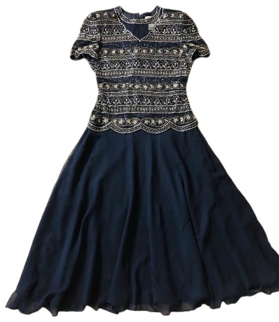 Item - Navy Silver Long Formal Dress Size 6 (S)