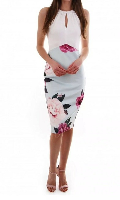 Item - White Blue Pink Annile Magnificent Ruched Body-con In Us Mid-length Work/Office Dress Size 8 (M)