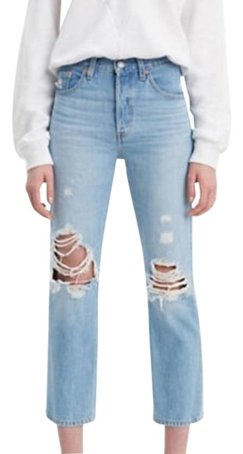 Item - Blue Light Wash 501 High Rise Cropped Straight Leg Jeans Size 24 (0, XS)