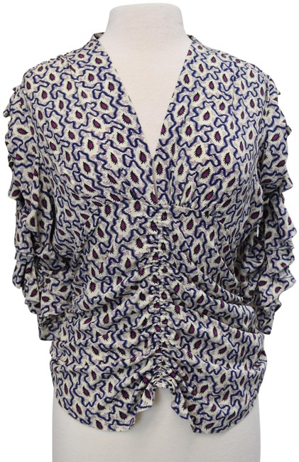 Item - Gray & Purple Print Silk Small Blouse Size 4 (S)