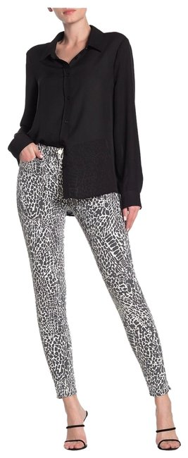 Item - Grey White Le High Skinny Animal Print Capri/Cropped Jeans Size 33 (10, M)