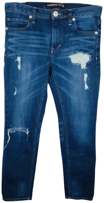 Item - Blue Distressed Girlfriend Skinny Leg Destroyed Capri/Cropped Jeans Size 27 (4, S)