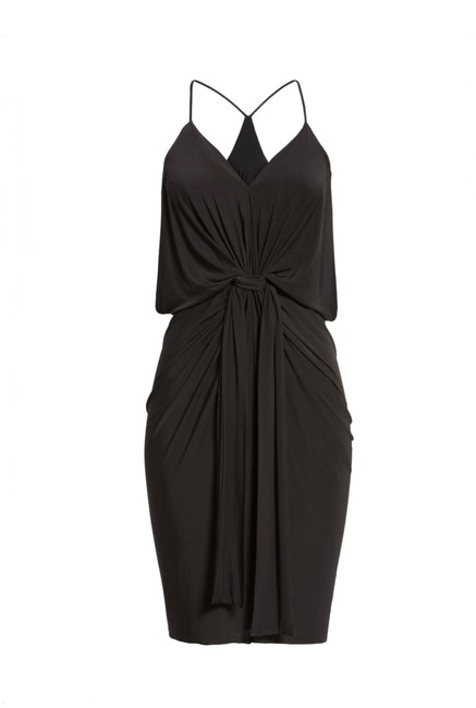 Item - Black Domino Knotted Mid-length Cocktail Dress Size 6 (S)