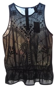 H&M Embroidered Floral Sheer Summer Sleeveless Boho Festival Peplum Top Black