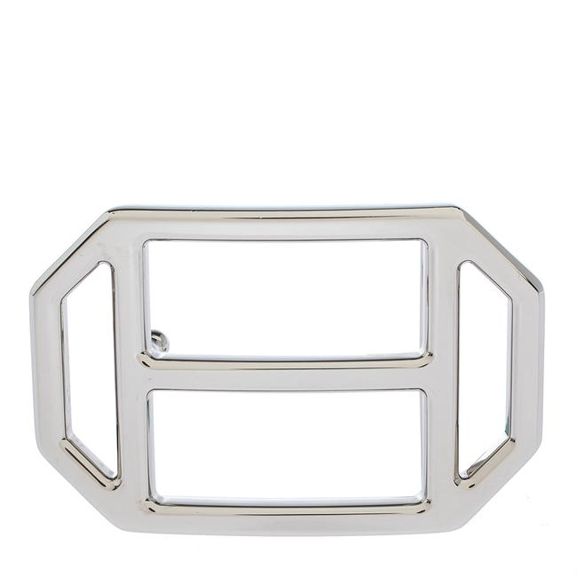 Item - Silver Metal Tone H Hexagonal Buckle Belt