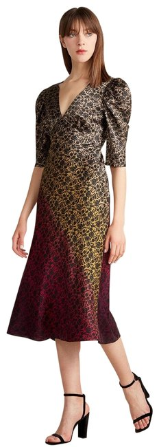 Item - Brown Ombre Colette Silk Midi Mid-length Cocktail Dress Size 6 (S)