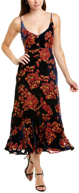 Item - Insignia/Gold Flower Aidan Velvet Floral Midi Mid-length Cocktail Dress Size 6 (S)