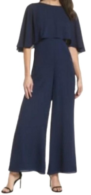 Fame and Partners Blue Wide Leg Georgette with Removable/Optional Cape Romper/Jumpsuit Fame and Partners Blue Wide Leg Georgette with Removable/Optional Cape Romper/Jumpsuit Image 1