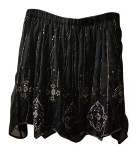 Free People Embellished Mini Skirt Navy multi