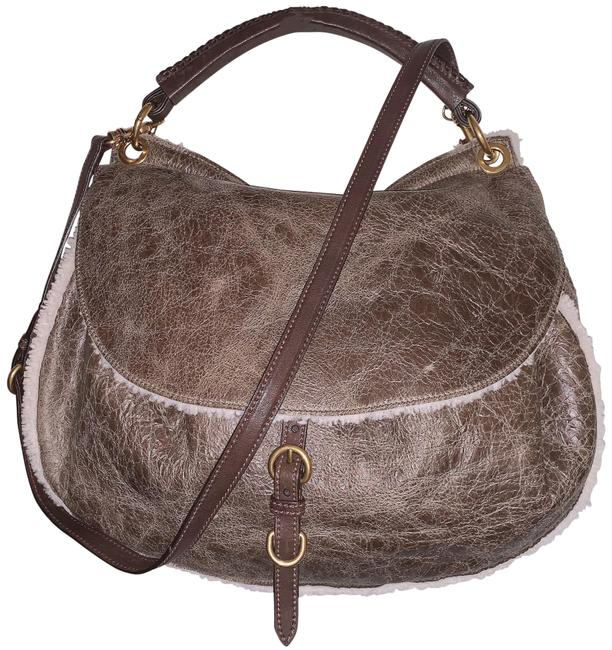 Item - Fold Flap Brown/Mud Cracked Leather/Shearling Hobo Bag