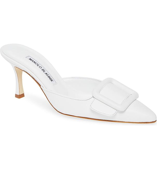 Item - White New Maysale Buckle Pointed Toe Mules/Slides Size EU 38.5 (Approx. US 8.5) Regular (M, B)