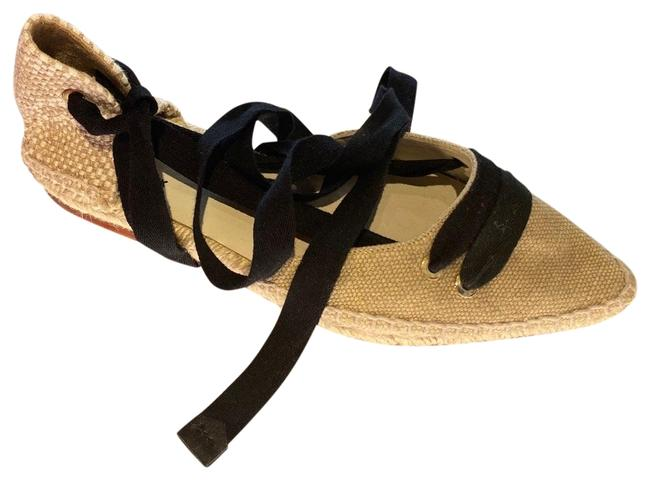 Item - Beige Black Flat Tie Espadrille Sandals Size EU 35 (Approx. US 5) Regular (M, B)