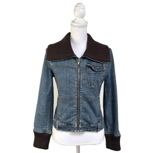 Item - Blue Denim Jacket with Knit Collar Activewear Size 4 (S)