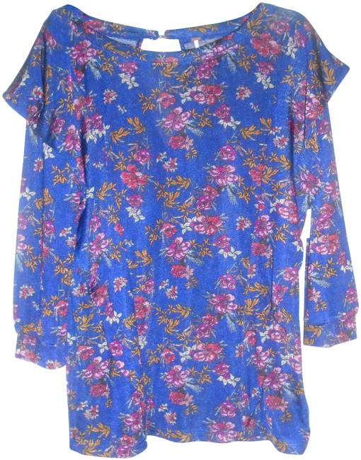 Free People Multi-color Blue Floral Tunic Size 12 (L) Free People Multi-color Blue Floral Tunic Size 12 (L) Image 1