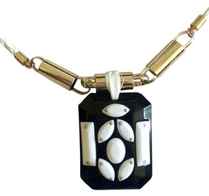 Anthropologie Anthropologie Black and White Resin/Leather Necklace