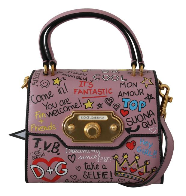 Item - Dg Crown Welcome Purse Pink with Gold Metal Detailing Leather Cross Body Bag