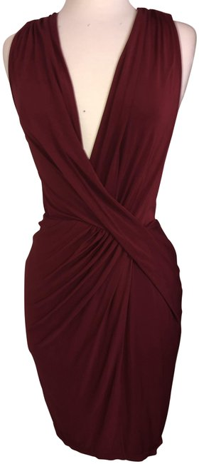 Item - Red Burgundy V-necl Low Back Short Night Out Dress Size 4 (S)