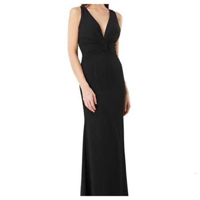 JS Collections Black Stretch Crepe Plunge Backless Evening V-neck Cutout Sleeveless Long Formal Dress Size 4 (S) JS Collections Black Stretch Crepe Plunge Backless Evening V-neck Cutout Sleeveless Long Formal Dress Size 4 (S) Image 1