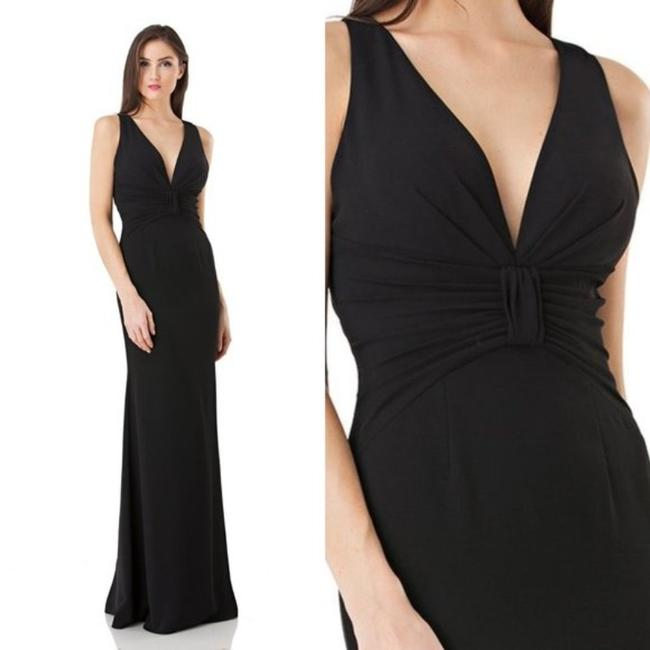 JS Collections Black Stretch Crepe Plunge Backless Evening V-neck Cutout Sleeveless Long Formal Dress Size 4 (S) JS Collections Black Stretch Crepe Plunge Backless Evening V-neck Cutout Sleeveless Long Formal Dress Size 4 (S) Image 2