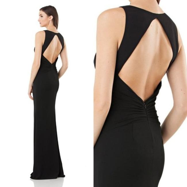 JS Collections Black Stretch Crepe Plunge Backless Evening V-neck Cutout Sleeveless Long Formal Dress Size 4 (S) JS Collections Black Stretch Crepe Plunge Backless Evening V-neck Cutout Sleeveless Long Formal Dress Size 4 (S) Image 4