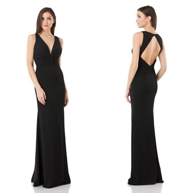 JS Collections Black Stretch Crepe Plunge Backless Evening V-neck Cutout Sleeveless Long Formal Dress Size 4 (S) JS Collections Black Stretch Crepe Plunge Backless Evening V-neck Cutout Sleeveless Long Formal Dress Size 4 (S) Image 8
