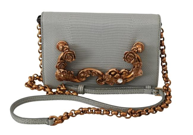 Item - Crystal Purse Gray Lizard Skin Leather Cross Body Bag