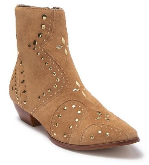 Item - Tan Gold Kirin Studded Natural Suede Almond Toe Side-zip Ankle Boots/Booties Size US 8 Regular (M, B)
