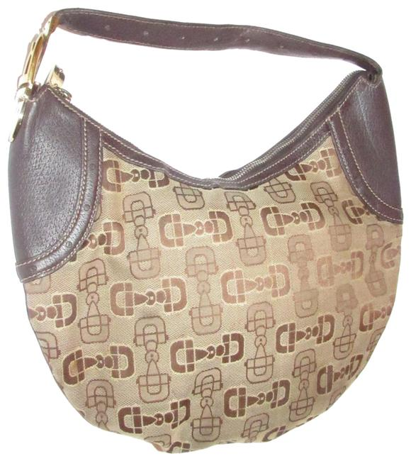 Item - Snow Glam Canvas/Leather with Bold Gold Buckle Accent Brown Horsebit Print Canvas and Leather Hobo Bag