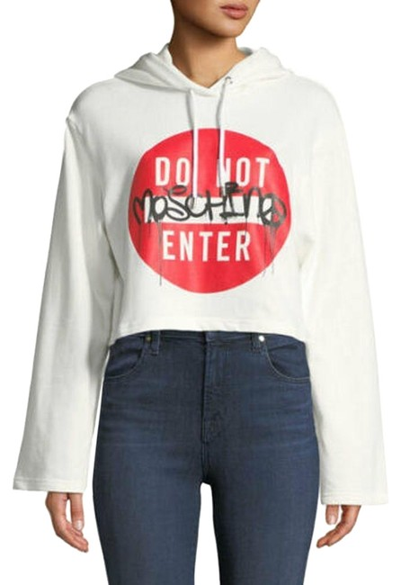 Item - White Aw17 Jeremy Scott Do Not Enter Cropped Hoodie Clothed For Halter Top Size 12 (L)