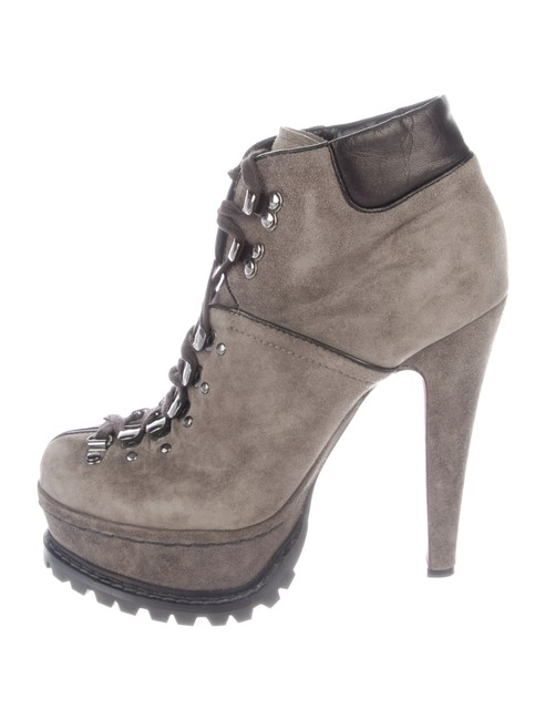 Item - Gray Suede Lace Up Platform Ankle Boots/Booties Size EU 39 (Approx. US 9) Regular (M, B)