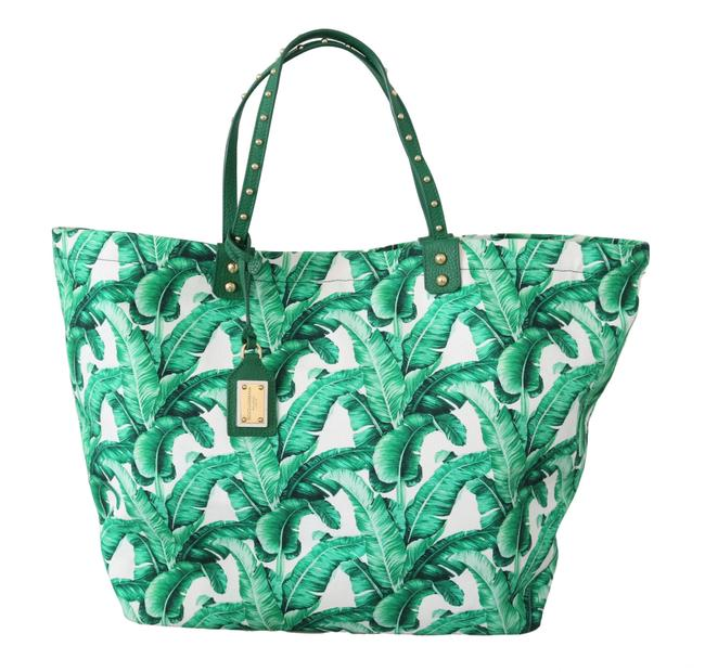 Item - Bag Beatrice Shopping Hand Green Banana Leaves Canvas Tote