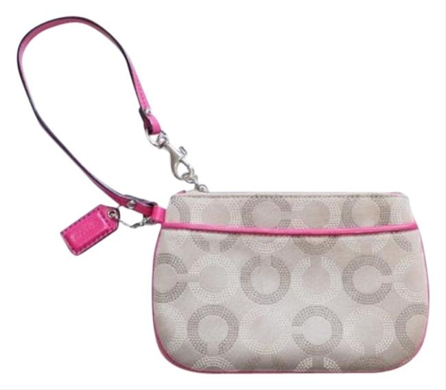 Item - Ashley Leather Trim Dotted Pink Tan Cream Khaki Beige Fabric Wristlet