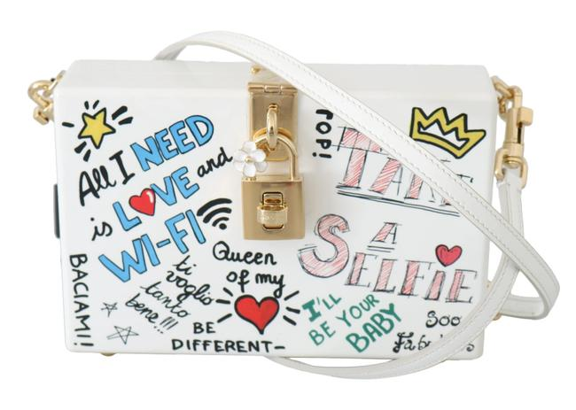 Dolce&Gabbana Box Hand Painted Wooden Sicily Purse White Wood Leather Shoulder Bag Dolce&Gabbana Box Hand Painted Wooden Sicily Purse White Wood Leather Shoulder Bag Image 1