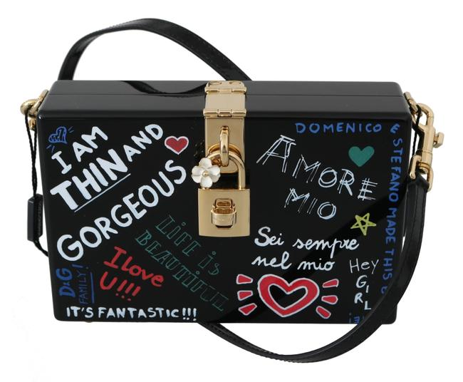 Dolce&Gabbana Box Hand Painted Wooden Sicily Purse Black Wood Leather Shoulder Bag Dolce&Gabbana Box Hand Painted Wooden Sicily Purse Black Wood Leather Shoulder Bag Image 1