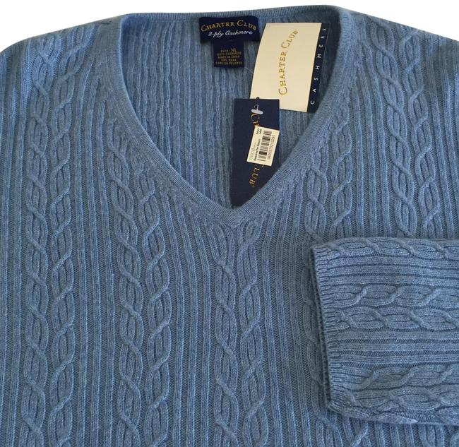 Preload https://img-static.tradesy.com/item/27917330/charter-club-be-neck-cable-knit-2-ply-cashmere-blue-sweater-0-1-650-650.jpg